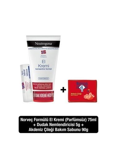 Neutrogena Parfümsüz El Kremi 75 Ml + Dudak Kremi + El Ve Bakım Sabunu Çilek 90 Gr Renksiz